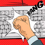 Fist hits the keyboard comic book style vector royalty free illustration