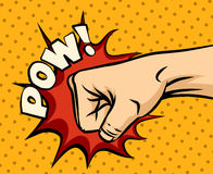 Fist hitting, fist punching in pop art style. Human violence, knuckle and impact, vector illustration Royalty Free Stock Image
