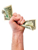 Fist Holding Dollar Bills Royalty Free Stock Image