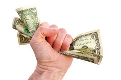 Fist Holding Dollar Bills Royalty Free Stock Images
