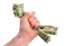 Fist Holding Dollar Bills. Isolated on White Royalty Free Stock Photo