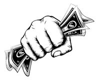 Fist holding money concept. A fist holding cash money dollar bills in a vintage woodcut style Stock Photo