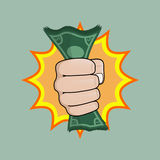 Fist holding money. Picture of fist holding money. Transparency used for making shadow Royalty Free Stock Photo