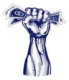 Fist holding up money royalty free illustration