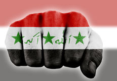 Fist with iraqi flag Stock Photos