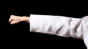 Fist of karateka. On black Royalty Free Stock Photos