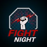 Fist with the lightning in an octagon. Emblem combative night. Logo. Banner. Concept of mixed martial arts. The press on a t-shirt. Vector illustration royalty free illustration