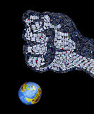 Fist made of plastic bottles crushing the planet Royalty Free Stock Photo