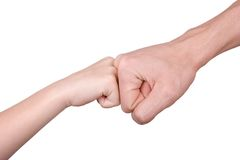 Fist of the man and the child Royalty Free Stock Photography