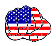 Fist nation fight usa america. Fist with colors of the country Stock Photo