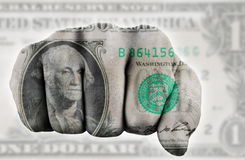 Fist with one us dollar. Fist with digitally painted one dollar note royalty free stock images