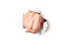 Fist from paper. Isolated on white background Royalty Free Stock Photography