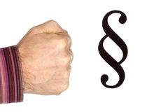 Fist and paragraph symbol. On white background Stock Photos