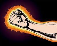 Fist of Power. Is an image of a fist clinched in rage or anger as if preparing to strike at any moment. Fist is surrounded by flames or fire as the anger and Royalty Free Stock Photo