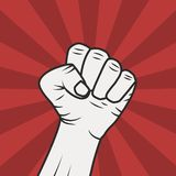 Fist power. Fist male hand  on red light rays background. Power sign. Trendy flat style. Vector illustration vector illustration