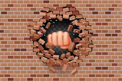 Free Fist Punches Hole In Wall Power Strength Destruction Red Brick Break Template Transparent Background Vector Illustration Stock Images - 145762914