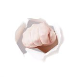 Fist punching hole Royalty Free Stock Photography