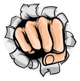 Fist Punching Hole. A pop art cartoon fist punching a hole in the background Royalty Free Stock Photo