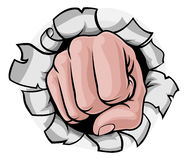 Fist Punching Knuckles Through Background Stock Photos