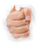 Fist punching paper Stock Images