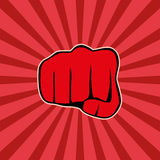 Fist on red background,  Stock Photo