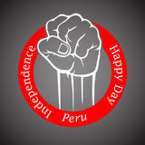 Fist in red circle with inscription happy Independence Day of Peru. Design for card, banner, patriotic symbol Royalty Free Stock Photo