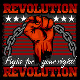 Fist of revolution. Human hand up.  Royalty Free Stock Photo
