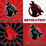 Fist revolution symbols with wrench Stock Photography