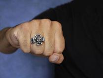 Fist with a ring - Stainless Steel Royalty Free Stock Photography