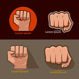 Fist. Set of images, for logo, fist icon. fist silhouette Stock Photos
