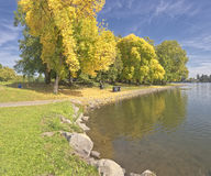 Fist sign of Autumn Blue Lake park OR. Royalty Free Stock Photos