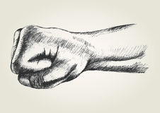 Fist. Sketch illustration of a punching fist Royalty Free Stock Images