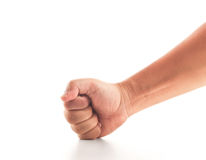 Fist smashing on white Royalty Free Stock Images