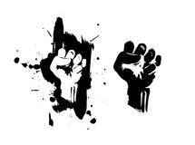 Fist on splatter. Black and white Royalty Free Stock Photos