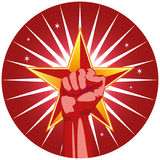 Fist with Star. Symbol of fist with star representing strength, power, or teamwork stock illustration