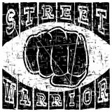 Fist t-shirt design. Black vector illustration fist on abstract grunge background. Inscription street warrior. For t-shirt design Royalty Free Stock Photo