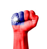 Fist of Taiwan flag painted Royalty Free Stock Photography