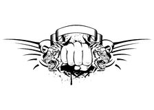 Fist and tigers. Vector illustration fist and two tigers heads stock illustration