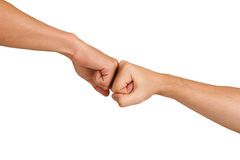 Fist to fist. Handshake with fist, isolated on white, studio shot Stock Images