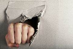 Fist tore cardboard . on. A fist tore cardboard on royalty free stock images