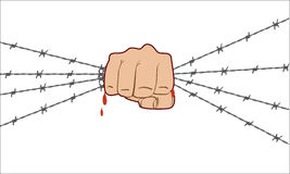 Fist up power. Hand holding barbed wire and breaks it. Fight for freedom. Concept of protest, revolution, refugee. Social theme. Flat color style Stock Photos