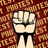 Fist Up Protest Poster. Single Cartooned Raised Fist on Maroon Background with Protest Texts Graphic Design vector illustration