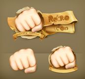 Fist vector icons. Fist, retro vector illustration icons Royalty Free Stock Photos