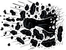 Fist through wall stock illustration
