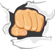 Fist through the wall. Determination royalty free stock photography