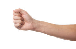 Fist on white background. Mans fist on white background Royalty Free Stock Photo