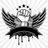Fist and wing. Clenched fist and wing Stock Images