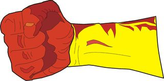 Fist yellow. The red fist strikes blow Stock Photo