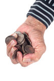 Fistful of coins Royalty Free Stock Photos