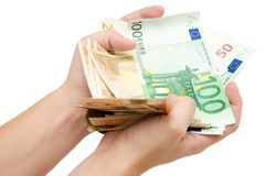 Fistful of Euro Banknotes Royalty Free Stock Image
